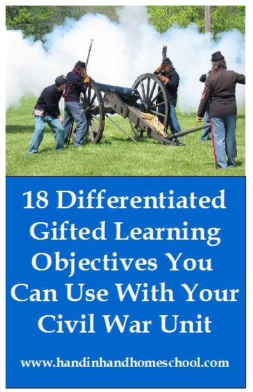 18 Differentiated Gifted Learning Objectives You Can Use With Your Civil War Unit